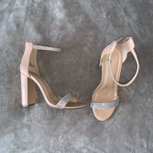 Shoes - Nude zip up chunky heal with embellished straps